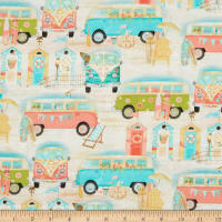 3 Wishes Beach Travel Vintage Bus Multi