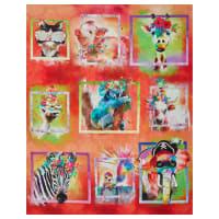 3 Wishes Digital Party Animals Framed Multi