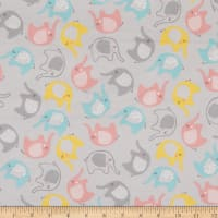 3 Wishes Small and Mighty Tossed Elephants Flannel Gray