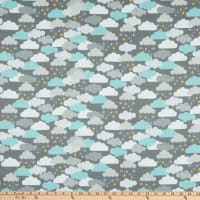 3 Wishes Small and Mighty Clouds & Stars Flannel Gray
