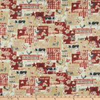 Wilmington Farmhouse Chic Large Allover Tan/Red