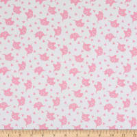 David Textiles Elephant Confetti Pink Flannel White/Pink