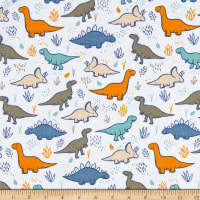 David Textiles Dino Land Flannel White/Slate/Mint