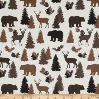 Flannel Lodge Animals Cream/Gray