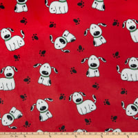 Plush Fleece Happy Dog Red