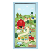 "Michael Miller Down on the Farm Farmyard 24"" Panel Blue"