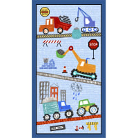 "Michael Miller Diggers and Dumpers Roadwork Ahead 24"" Panel Blue"