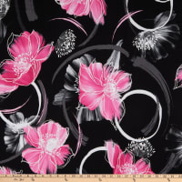 Telio Bali Stretch ITY Jersey Knit Puff Floral Print Black/Very Pink