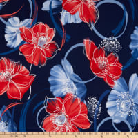 Telio Bali Stretch ITY Knit Puff Floral Print Navy/Red