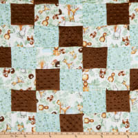 "Fabric Palette Woodland Tykes Patchwork Pre-Quilted Flannel 36"" x 44"" Multi"