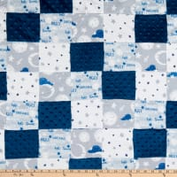 "Fabric Palette Boy Good Night Stars Patchwork Pre-Quilted Flannel 36"" x 44"" Multi"