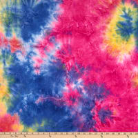 Fabric Merchants Double Brushed Stretch Jersey Knit Tie Dye Royal/Hot Pink