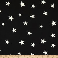 Fabric Merchants Double Brushed Stretch Jersey Knit Stars Black/White