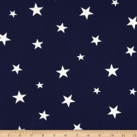Fabric Merchants Double Brushed Stretch Jersey Knit Stars Navy/White
