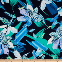 Fabtrends Stretch ITY Knit Floral Animal Brush Stroked Blue