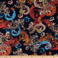 Fabtrends Stretch ITY Knit Paisley Navy/Rust