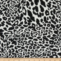 Fabric Merchants Double Brushed Stretch Jersey Knit Snow Leopard White/Black