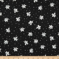 Fabric Merchants Double Brushed Stretch Jersey Knit Floating Flowers Black/White