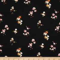 Fabric Merchants Double Brushed Stretch Jersey Knit Mini Floral Clusters Black/Cream