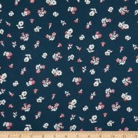 Fabric Merchants Double Brushed Stretch Jersey Knit Mini Floral Bouquet Teal/Pink/White