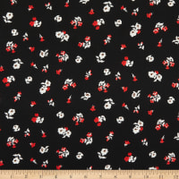 Fabric Merchants Double Brushed Stretch Jersey Knit Mini Floral Bouquet Black/Red