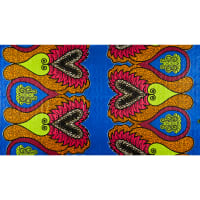 Supreme African Wax Heart of the Turtle 6 Yards Blue/Red