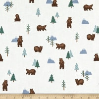 Riley Blake Camp Woodland Grizzly Bears Offwhite