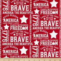 Riley Blake Let Freedom Soar Text Red