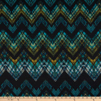 Fabtrends Stretch DTY Knit Chevron Teal/Olive