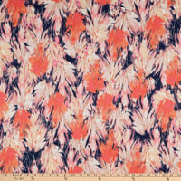 Fabtrends Stretch DTY Knit Abstract Leaf Navy/Coral