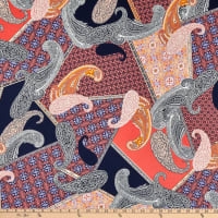 Fabtrends Stretch DTY Knit Paisley Retro Patchwork Navy/Coral