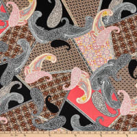 Fabtrends Stretch DTY Knit Paisley Retro Patchwork Pink/Periwinkle
