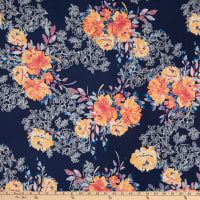 Fabtrends Stretch DTY Knit Floral Navy/Coral