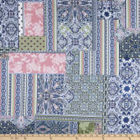 Fabtrends Stretch DTY Knit Abstract Paisley Denim/Blush