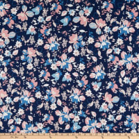Fabtrends Stretch DTY Knit Floral Denim/Blush