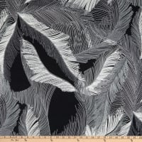 Fabtrends Stretch DTY Knit Tropical Feathers Black/White