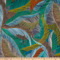Fabtrends Stretch DTY Knit Tropical Feathers Teal/Brown