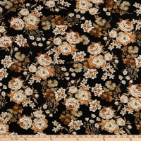 Fabtrends Double Brushed Stretch DTY Floral Neutral