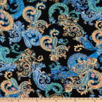 Fabtrends Double Brushed Stretch DTY Paisley Gold/Blue