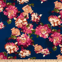 Fabtrends Double Brushed Stretch DTY Floral Denim/Fuchsia