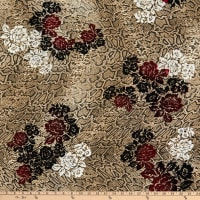 Fabtrends Stretch Washer Ghost Crepe Animal Snake Floral Red/Neutral