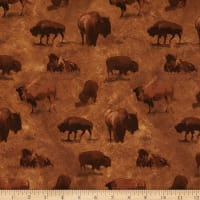 Henry Glass Yellowstone Buffalo Allover Brown