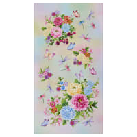 "Henry Glass Gossamer Garden Flower 24"" Panel Pastel"