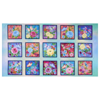 "Henry Glass Gossamer Garden 6.5"" Garden Blocks 24"" Panel Pastel"