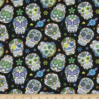 Cotton Sugar Skulls Purple