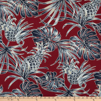 Trans-Pacific Textiles Monstera Pineapple Burgundy