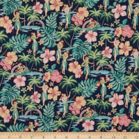 Trans-Pacific Textiles Lovey Hula Hands Navy