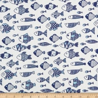 Telio Digital Cotton Lawn Go Fish Print White Blue