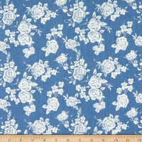 Telio Denim Cotton Print Rose Print Light Blue