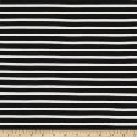 Telio Yarn Dyed Bamboo Rayon Stretch French Terry Knit Sailor Stripe Black/Ecru